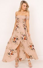 Lovestruck maxi dress in mocha floral
