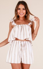 Magic Light two piece set in beige stripe linen look