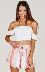 Make A Wish shorts in peach stripe