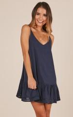 Make Believe dress in navy linen look