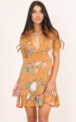 Making It Down dress in rust floral