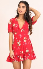 Making It Down dress in red floral