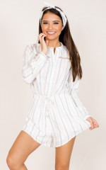 Moon Ridge Playsuit in White Stripe