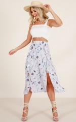 Moonlight Dancer midi skirt in blue floral