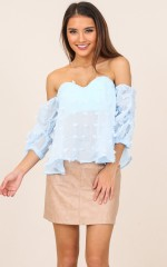 No Stopping Me top in pale blue