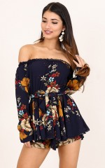 Oh My Darling playsuit in navy floral
