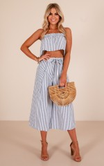 On Display two piece set in navy stripe