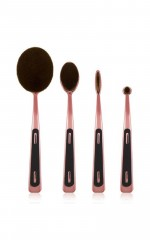 Oval Makeup brush set in rose gold - 4 pc