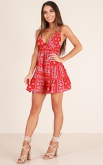 Paint the Town Red dress in red print