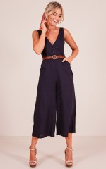 Paradise With You jumpsuit in navy linen look