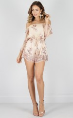 Pastime Paradise playsuit in rose gold sequin