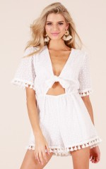 Plot Twist playsuit in white