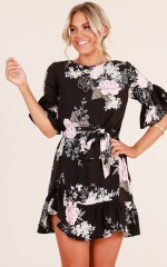 Power Move dress in black floral