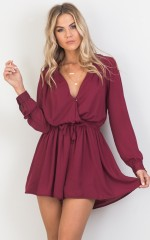 Lost Time playsuit in wine
