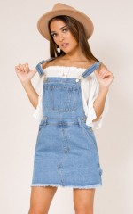 Rebel Nation denim overalls in light wash