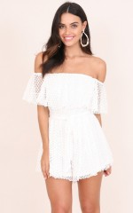 Rock Candy playsuit in white crochet