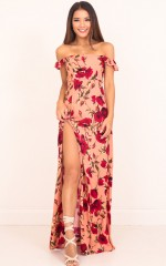 Rose Tinted maxi dress in peach floral