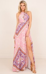 Endless Love maxi dress in pink print