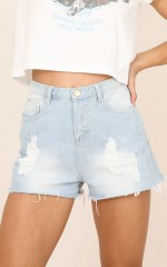 Sadie denim shorts in light wash