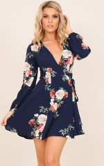 Secret Forest dress in  navy floral
