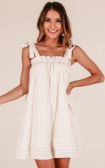 Settle Down dress in beige stripe