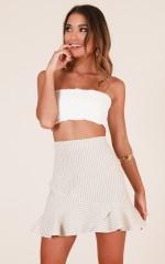 Show Me Something New skirt in beige stripe