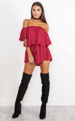 Beneath The Lights playsuit in wine