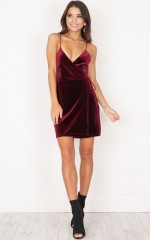 Slip It On dress in wine velvet