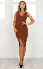 Slow And Steady Dress in brown