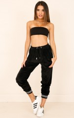 Snacks And Relax pants in black velour