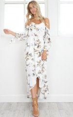 Snow Angel maxi dress in white floral