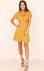 Something Pretty dress in mustard floral