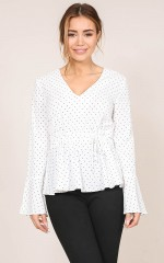 Status Update top in white polka dot