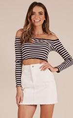 Spice It up top in navy stripe