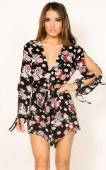 Summer Getaway playsuit in black floral