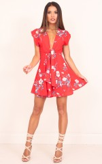 Summer Sweet dress in red floral