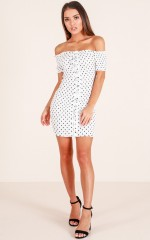 Sweet About Me dress in white polka dot