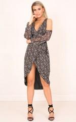 Take Me Through Dress in Black Floral
