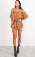 Beneath The Lights playsuit in rust