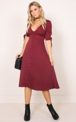 The Limelight dress in wine