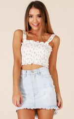 Thinking About Forever top in white floral