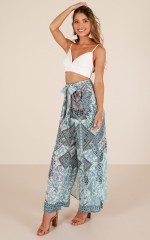This Could Be Something pants in teal print