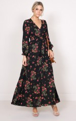 Through The Palms maxi dress in black floral