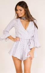 Top Level playsuit in white stripe