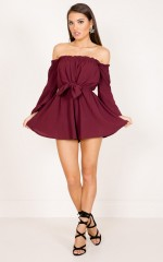 She Aint Me playsuit in wine