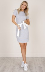 Track It Down dress in grey marle