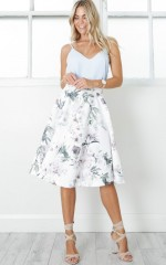 Whirlwind midi skirt in white floral