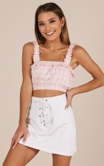 Little Closer crop top in blush gingham