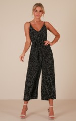 Are You With Me jumpsuit in black polka dot
