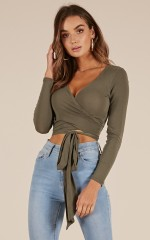 Lower Your Guard top in khaki